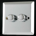 Varilight V-Pro 2 Gang 2 Way 2x250W Push on/off LED Dimmer Light Switch Mirror Chrome JCP252